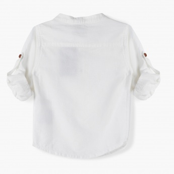 Juniors Henley Shirt with Roll-up Sleeves
