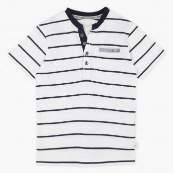 Eligo Striped Henley Neck T-shirt