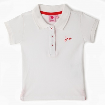 Juniors Pique Polo Neck T-shirt with Scalloped Collar