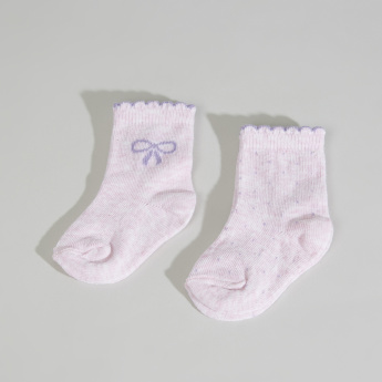 Juniors Printed Socks with Scalloped Hem - Set of 2