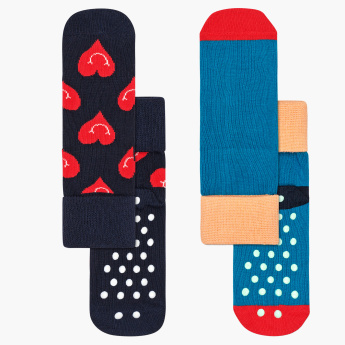 Happy Socks Smiley Heart Printed Anti-Slip Socks - Set of 2