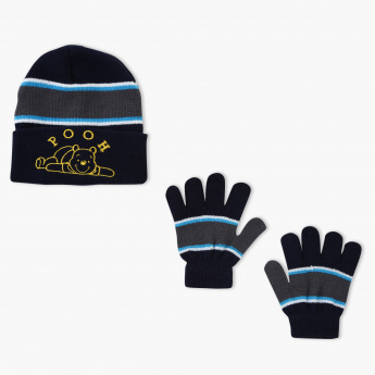 Winnie the Pooh Embroidered Beanie Cap and Gloves Set