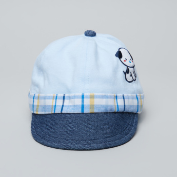 Juniors Embroidered Cap with Chequered Detail and Elasticised Back