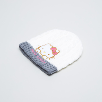 Hello Kitty Embroidered Applique Detail Beanie Cap with Gloves