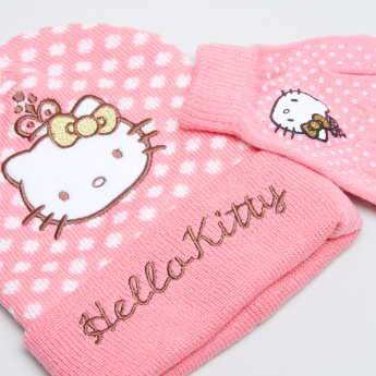 Hello Kitty Embroidered Beanie Cap with Gloves