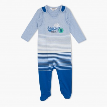 Kanz Striped Romper and Full-sleeved T-shirt