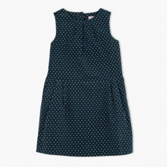 Juniors Heart Print Sleeveless Dress
