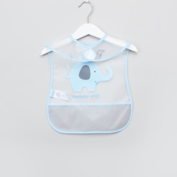 Juniors Elephant Printed Bib with Hook and Loop Closure