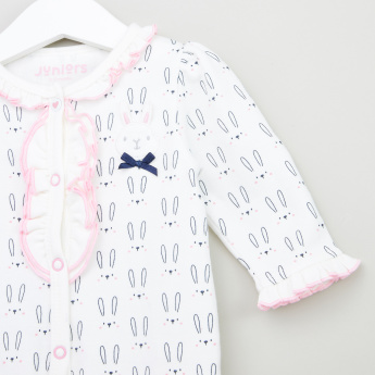 Juniors Printed Sleepsuit with Applique and Long Sleeves