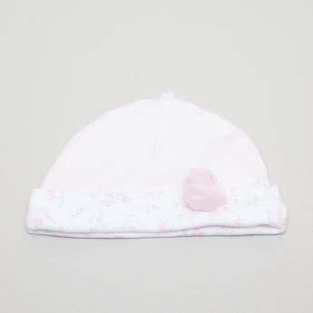 Juniors Floral Printed Beanie Cap with Flower Applique