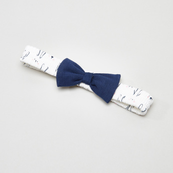 Juniors Printed Elasticated Head Band with Bow Detail