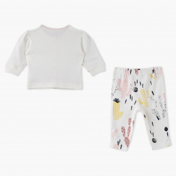 Juniors Embroidered Shirt and Printed Pyjama Set