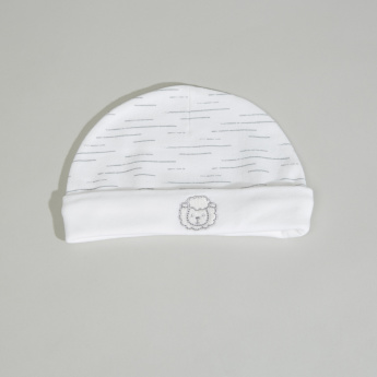 Juniors Sheep Printed Beanie Cap with Embroidery