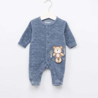 Juniors Textured Embroidered Applique Detail Sleepsuit