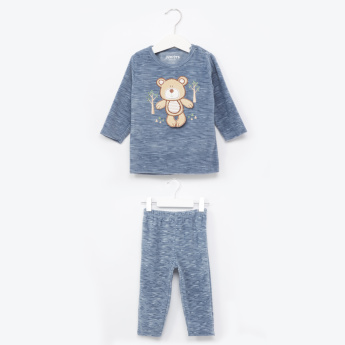Juniors Textured Long Sleeves T-Shirt and Pants