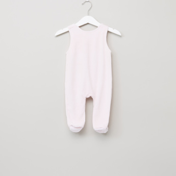 Juniors Textured Closed Feet Dungarees and Long Sleeves T-Shirt
