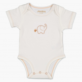 Juniors Embroidered Round Neck Bodysuit