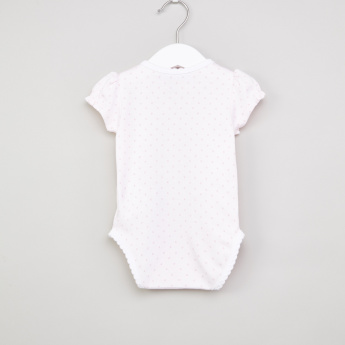 Juniors Printed Bodysuit with Press Button Closure