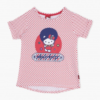 Hello Kitty Polka Dots T-Shirt with Short Sleeves