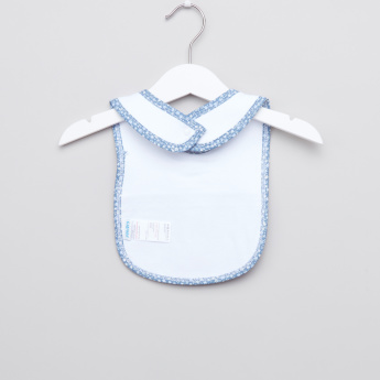 Juniors Printed Bib with Bow Applique and Press Button Closure