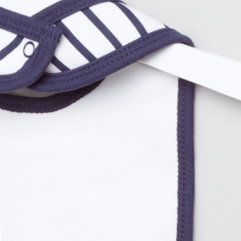 Juniors Striped Bib with Tie Applique and Snap Closure