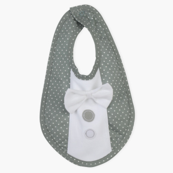 Juniors Printed Bib with Bow Detail and Press Button Closure