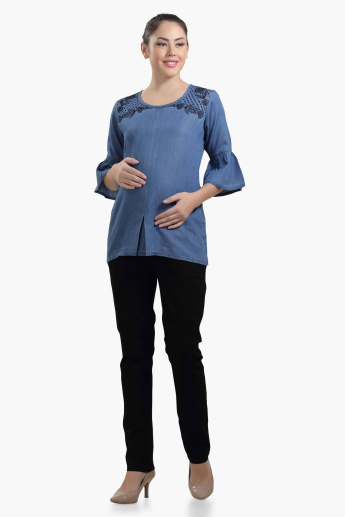 House of Napius Maternity Embroidered Tunic