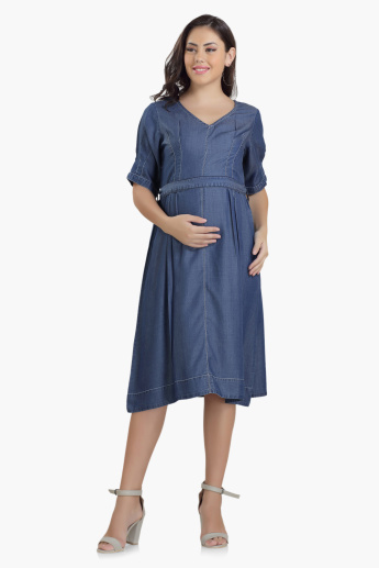 House of Napius Maternity Midi Denim Dress