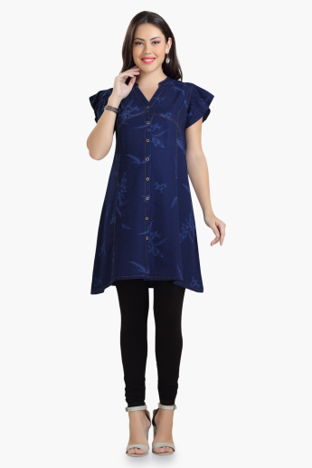 House of Napius Maternity Printed Denim Tunic with Butterfly Sleeves