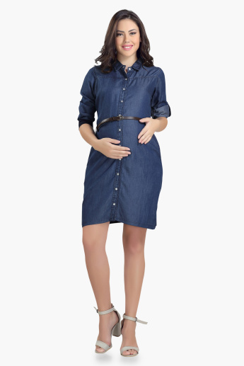 House of Napius Maternity Denim Shirt Dress with Complete Placket