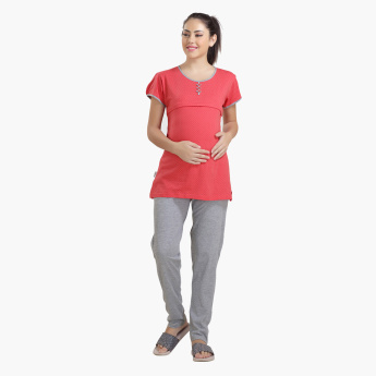 House of Napius Maternity Printed Feeding T-Shirt and Pyjama Set