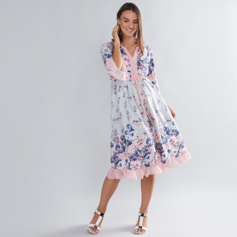 House of Napius Maternity Floral Printed Dress with Tie Ups