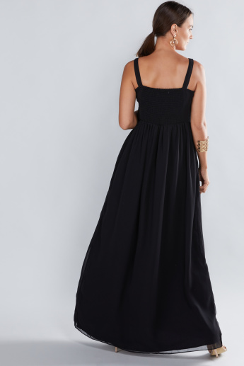 9562adc8e6247 House of Napius Maternity Embroidered Maxi Dress | Black | Regular