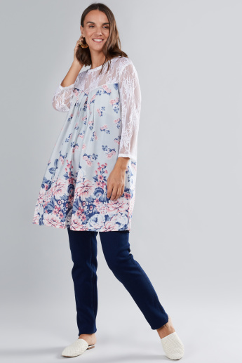 House of Napius Maternity Printed Tunic with 3/4 Sleeves