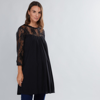 House of Napius Maternity Lace Detail Tunic with 3/4 Sleeves