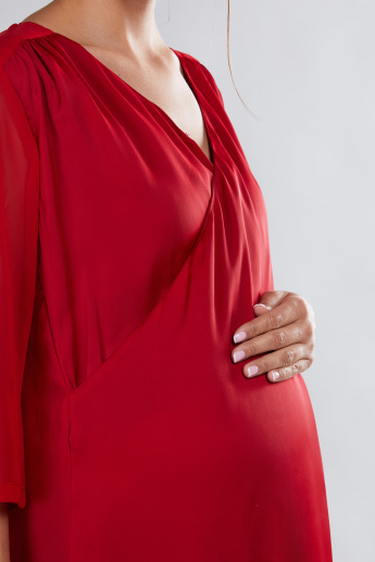 House of Napius Maternity V-Neck Dress with 3/4 Sleeves