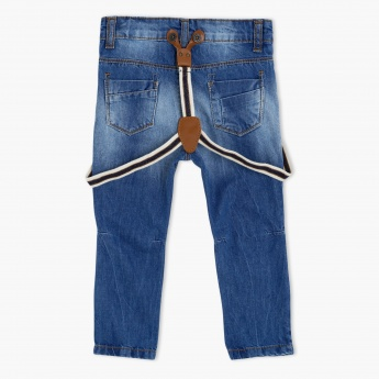 Juniors Faded Jeans with Suspenders