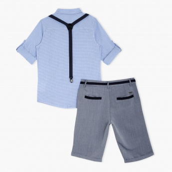 Chequered Shirt and Shorts Set