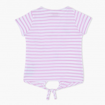 Juniors Striped T-Shirt with Cap Sleeves and Tie Up Hem