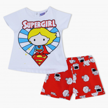 3102535b6 Supergirl Print T-Shirt and Shorts Set | White | Casual
