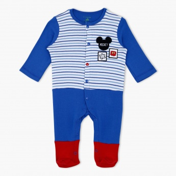 Mickey Mouse Print Sleepsuit with Long Sleeves