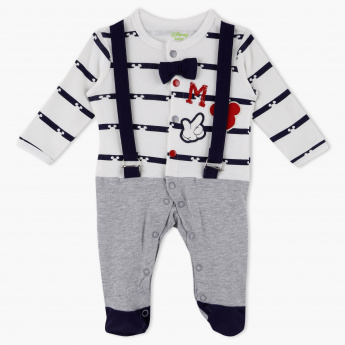 Mickey Mouse Striped Full Length Sleepsuit