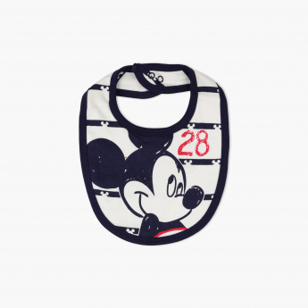 Mickey Mouse Printed Bib with Press Button Closure