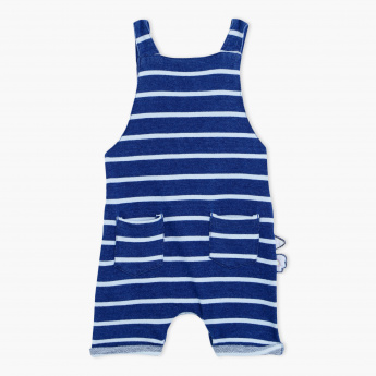 Juniors Striped Dungarees with Applique