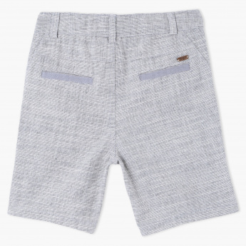 Eligo Textured Shorts with Button Closure