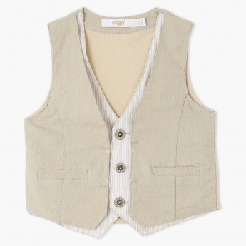 Eligo Textured Waistcoat with Button Placket