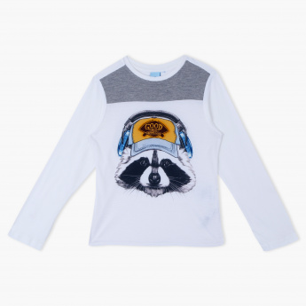 Juniors Printed Crew Neck Long Sleeves T-Shirt