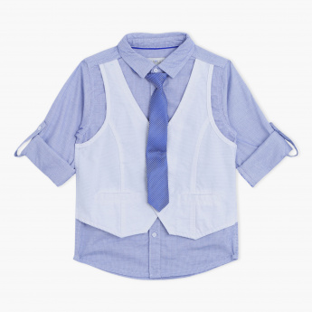 Juniors Textured Shirt with Tie