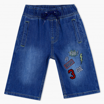 Juniors Denim Shorts with Applique Badges