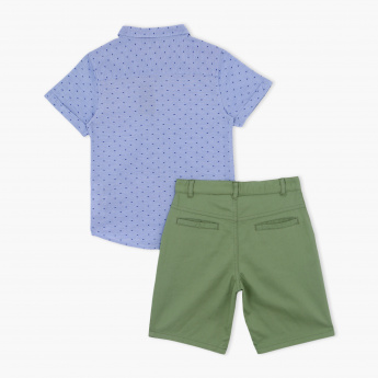 Juniors Printed Shirt with Shorts and Tie